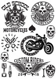 Fototapety set of vector badges, logos, design elements on theme motorcycles with skulls