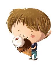 niño comiendo un helado