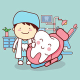 cartoon dentist with tooth - 107993517