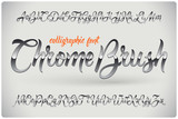 Chrome Brush calligraphic font with glossy metall effect