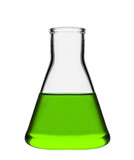 Chemical laboratory flask with green liquid