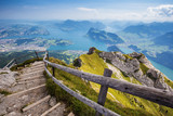 Fototapety Beautiful view to Lucerne lake (Vierwaldstattersee), mountain Rigi and Buergerstock from Pilatus, Swiss Alps, Central Switzerland