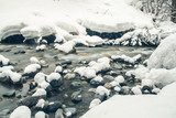 View of the winter mountain river, blurred by a slow shutter speed