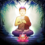 Buddha in Meditation With Lotus Flower