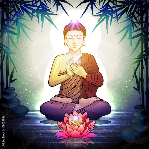 Poster, Tablou Buddha in Meditation With Lotus Flower