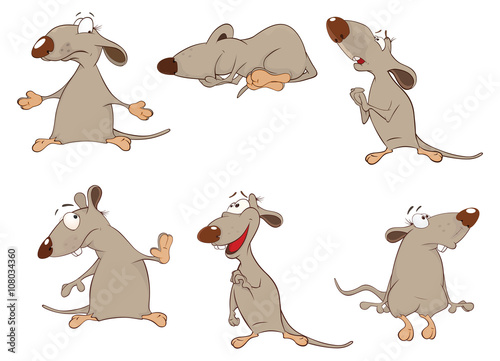 Deurstickers Babykamer Set of Cartoon Illustration. Cute Rats for you Design