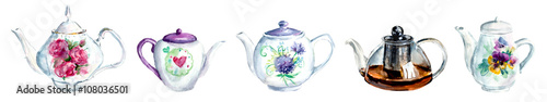 Tea Time Set. Collection teapots. White background Watercolor hand drawn illustration. - 108036501