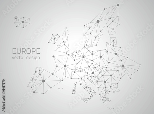 Europe grey vector polygonal map