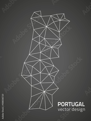 Poster Portugal polygonal vector Europe map