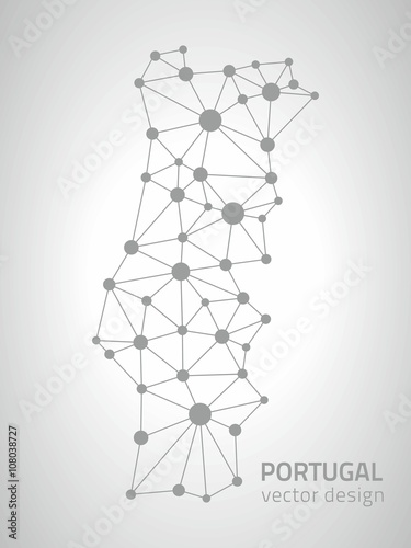 Poster Portugal grey vector outline spot map
