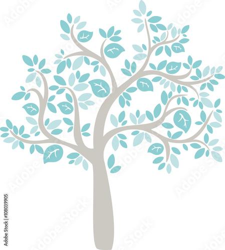 babe blue cartoon vector tree