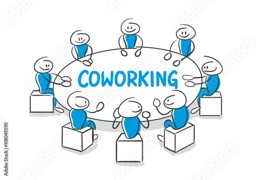 Stick Figure Series Blue / Coworking