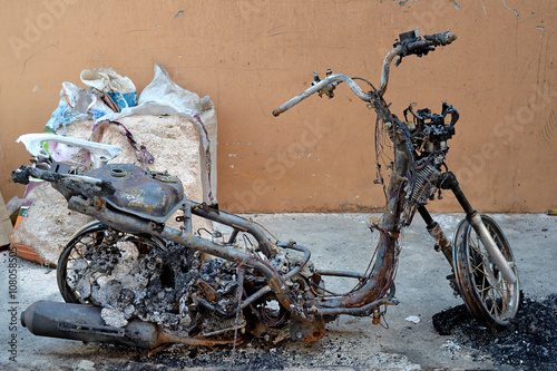 Burnt Motorcycle Poster