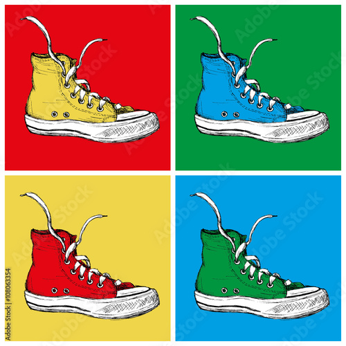 Fototapeta Four Sneakers on a colored background