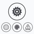 Obrazy na płótnie, fototapety, zdjęcia, fotoobrazy drukowane : Wood and saw circular wheel icons. Attention.