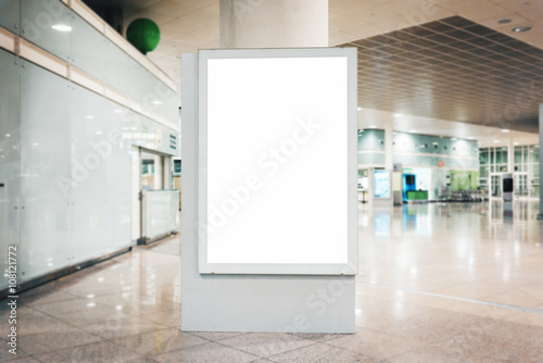Mock up of blank light box in airport