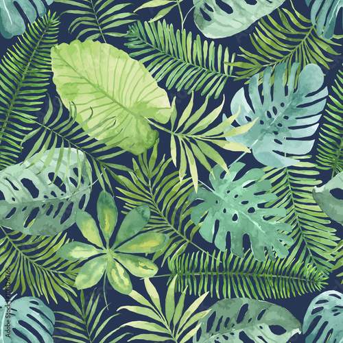 Materiał do szycia Tropical seamless pattern with leaves. Watercolor background with tropical leaves.