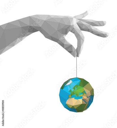 Deurstickers Geometrische dieren polygonal hand pinch fingers together monochrome earth Africa wh
