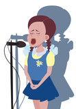 cartoon girl singing into microphone - funny vector illustration