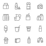 Set of icons for milk