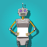 Robot with ads pop art style vector