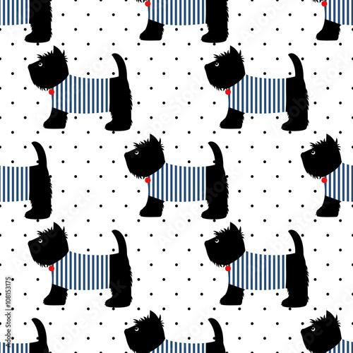 Scottish terrier in a sailor t-shirt seamless pattern. Cute dogs on white polka dots background. Child drawing style puppy background. French style dressed dog with red medal and striped frock. - 108153175