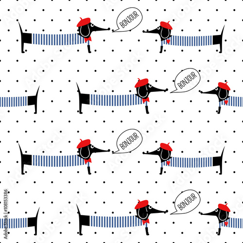 French style dogs saying bonjour seamless pattern on polka dots background. Cute cartoon parisian dachshund vector illustration. French style dressed dog with red beret and striped frock. - 108153386