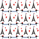 French style dogs with tour Eiffel seamless pattern. Cute cartoon parisian dachshund with Paris symbol illustration. French style dressed dog with red beret and striped frock. Romantic walk in Paris.