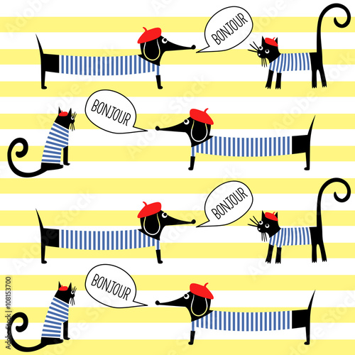 French style cats and dogs saying bonjour seamless pattern on striped background. Cute cartoon parisian animals vector illustration. French style dressed dog and cat with red beret and striped frock. - 108153700