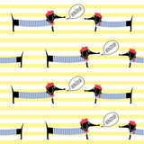 French style dogs saying bonjour seamless pattern on striped background. Cute cartoon parisian dachshund vector illustration. French style dressed dog with red beret and striped frock.