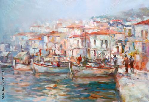Obraz Boats on the island harbor,handmade painting