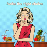 Fototapety Healthy or Unhealthy Food. Woman in Doubts. Healthy Lifestyle. Pop Art