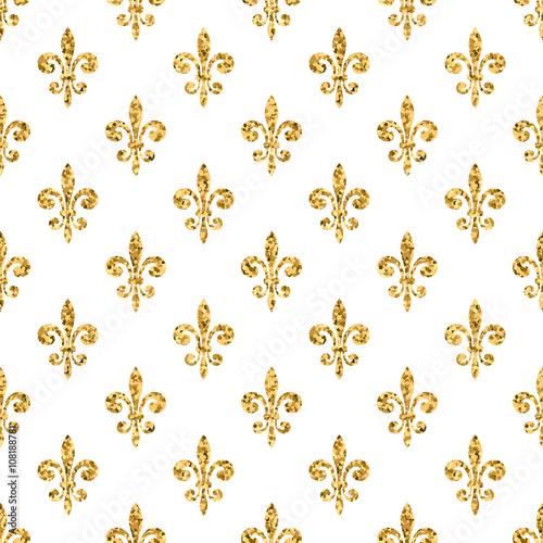 golden fleur de lis seamless pattern gold glitter and white