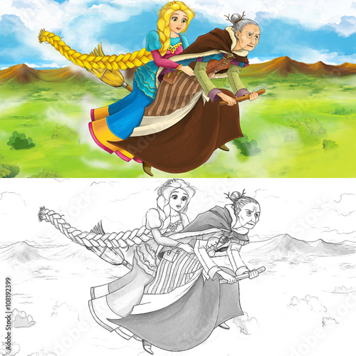 Foto op Aluminium Kasteel Cartoon fairy tale scene with princess flying on the broomstick with the witch - with coloring page - illustration for children