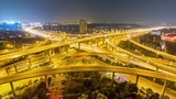 time lapse of nanjing city interchange at night , road junction of urban expressway.