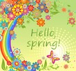Spring card with colorful flowers and rainbow