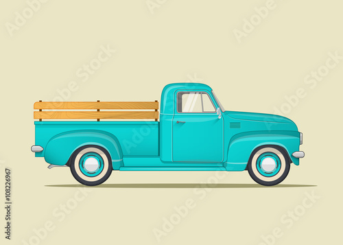 Fotobehang Auto Classic pickup truck. Flat styled vector illustration.