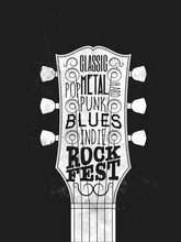 Rock Music Festival Poster. Vintage styled vector illustration.