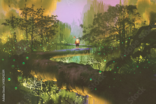 treetop trail,man standing in fantasy forest,illustration painting