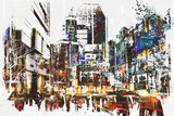 Fototapety people walking in city with abstract grunge painting,illustration art