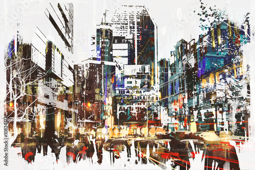 Obraz people walking in city with abstract grunge painting,illustration art