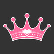 Pink princess crown heart