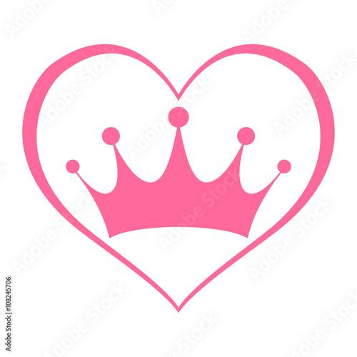 Pink princess crown heart