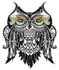 Vector illustration of owl. Bird illustrated in tribal