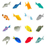 Fish icons set, isometric 3d style