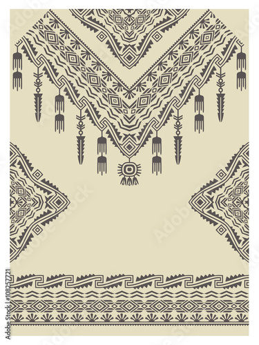 Plagát Design neckline, sleeves and border in ethnic style