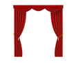 theatrical curtain of red color bilateral open illustration 3D render