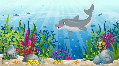 podwodny-krajobraz,-delfin,-bajki,-obraz,-plakat