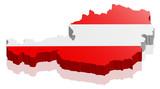 Österreich Land Karte 3D Design mit Flagge - 108281763