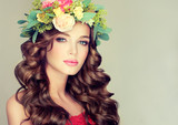 """Beautiful woman model brunette with long curly hair floral wreath on the head . Spring girl . Summer fresh image . 108147486,Wild white flower on field closeup"""""""